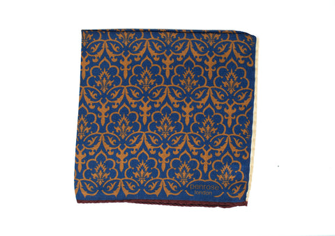 Penrose London Printed Wool-Cashmere Pocket Square ~ Made in Italy