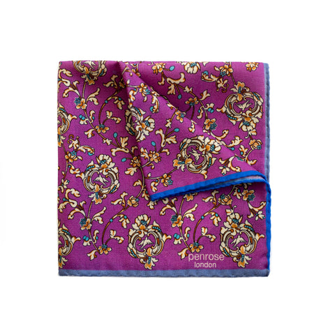 Penrose London Printed Wool-Cashmere Pocket Square Pochette ~ Made in Italy