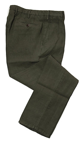 BOGLIOLI Dark Green Slim-Fit Pure Linen Pants ~ Made in Italy