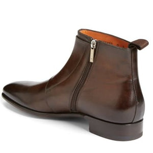 Santoni Fatte a Mano Brown Leather Double Buckle Boots ~ Made in Italy