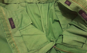 INCOTEX Green Cotton Slim Fit Shorts