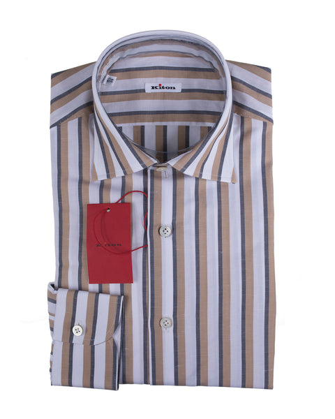 Kiton Napoli Cotton & Linen Modern Fit Dress Shirt ~ Handmade in Italy