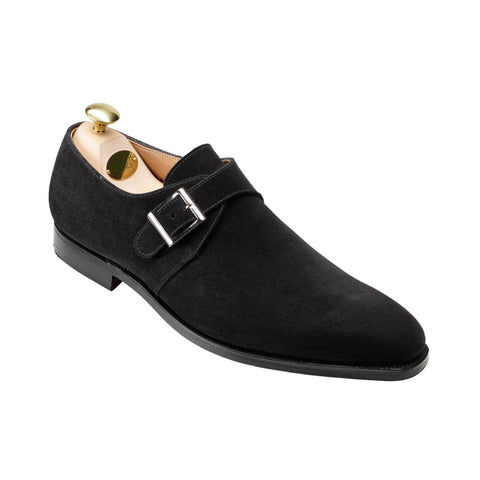 Crockett & Jones Monkton Black Suede Shoes ~ Made in England