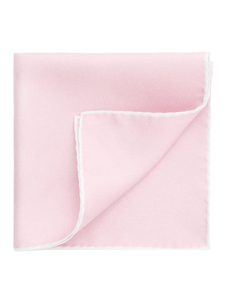 Thomas Pink Border Print Silk Pink Pocket Square ~ Made in Italy