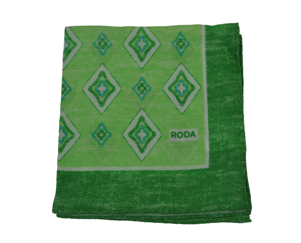 RODA Green Printed Linen Pocket Square Pochette ~ Made in Italy