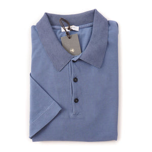 BOGLIOLI Blue Pique Cotton Polo Shirt ~ Made in Italy
