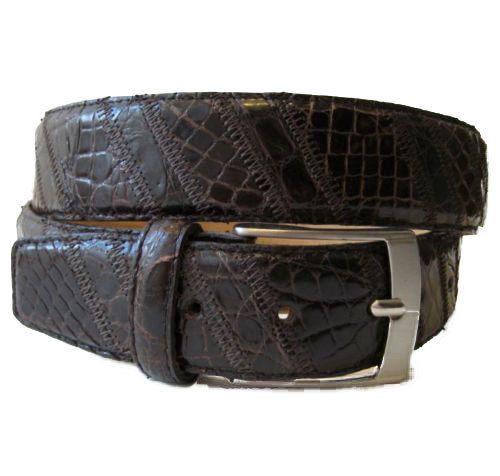 MORIGI Genuine Crocodile & Leather Adjustable Belt - Made in Italy