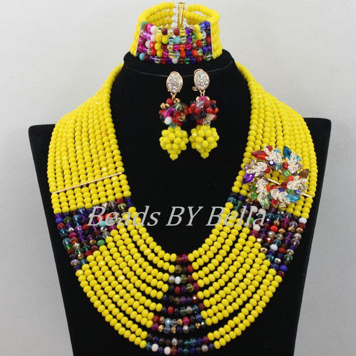 Fashion Yellow Crystal Necklace African Beads Jewelry Set Nigerian ...