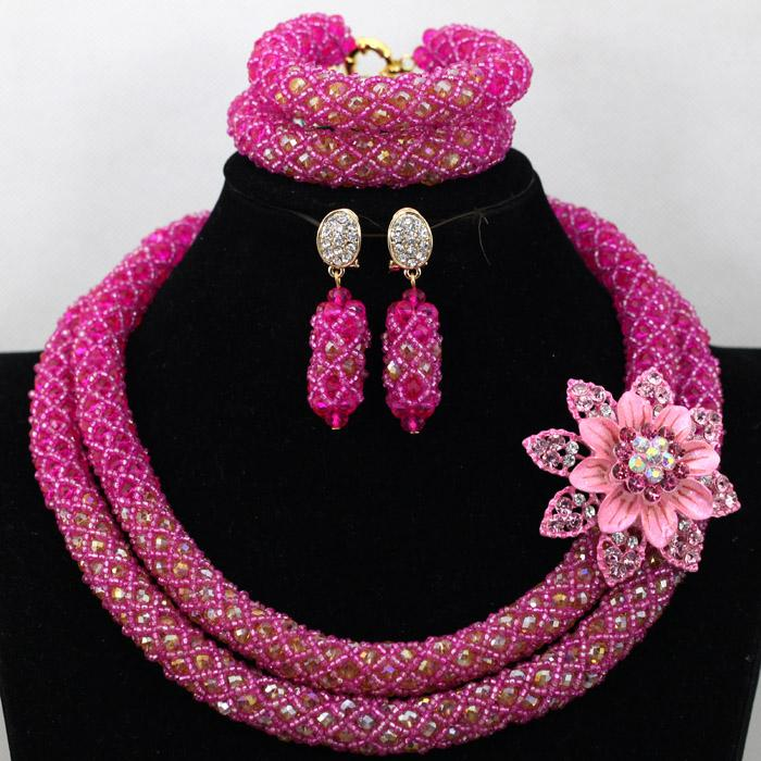 Handmade Nigerian Beaded Necklaces Sets Chunky Women African Lace ...
