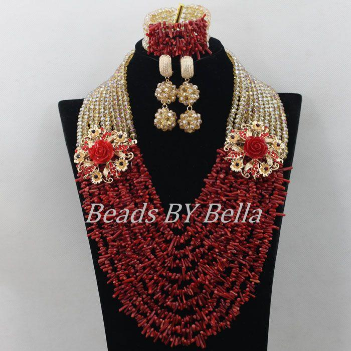 Luxury Red Coral Beads African Costume Jewlery Set Hot Bridal Lace ...