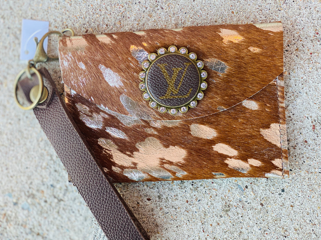 Brindle & Gold Upcycled Crystal Wristlet