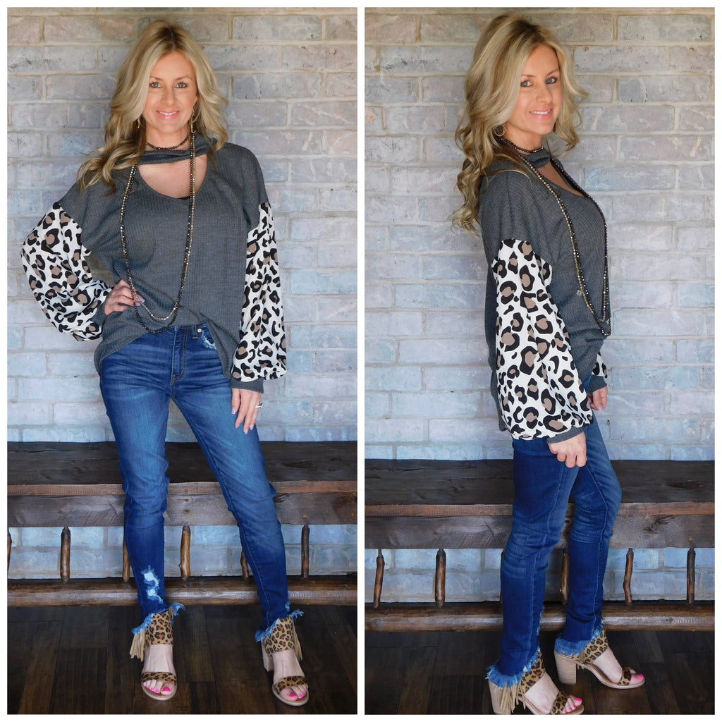 Cozied up in leopard charcoal waffle knit keyhole blouse
