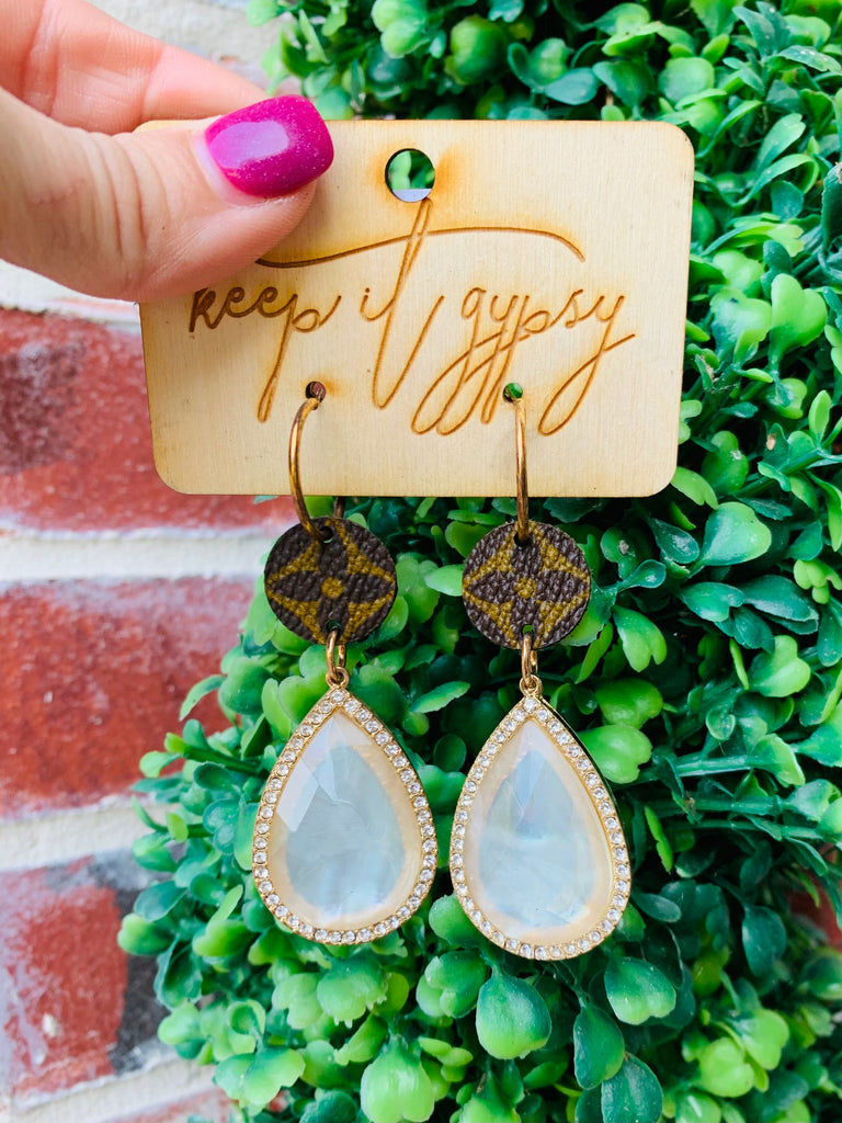 Teardrop ~ Dallas Blonde LV Upcycled Crystal Earring