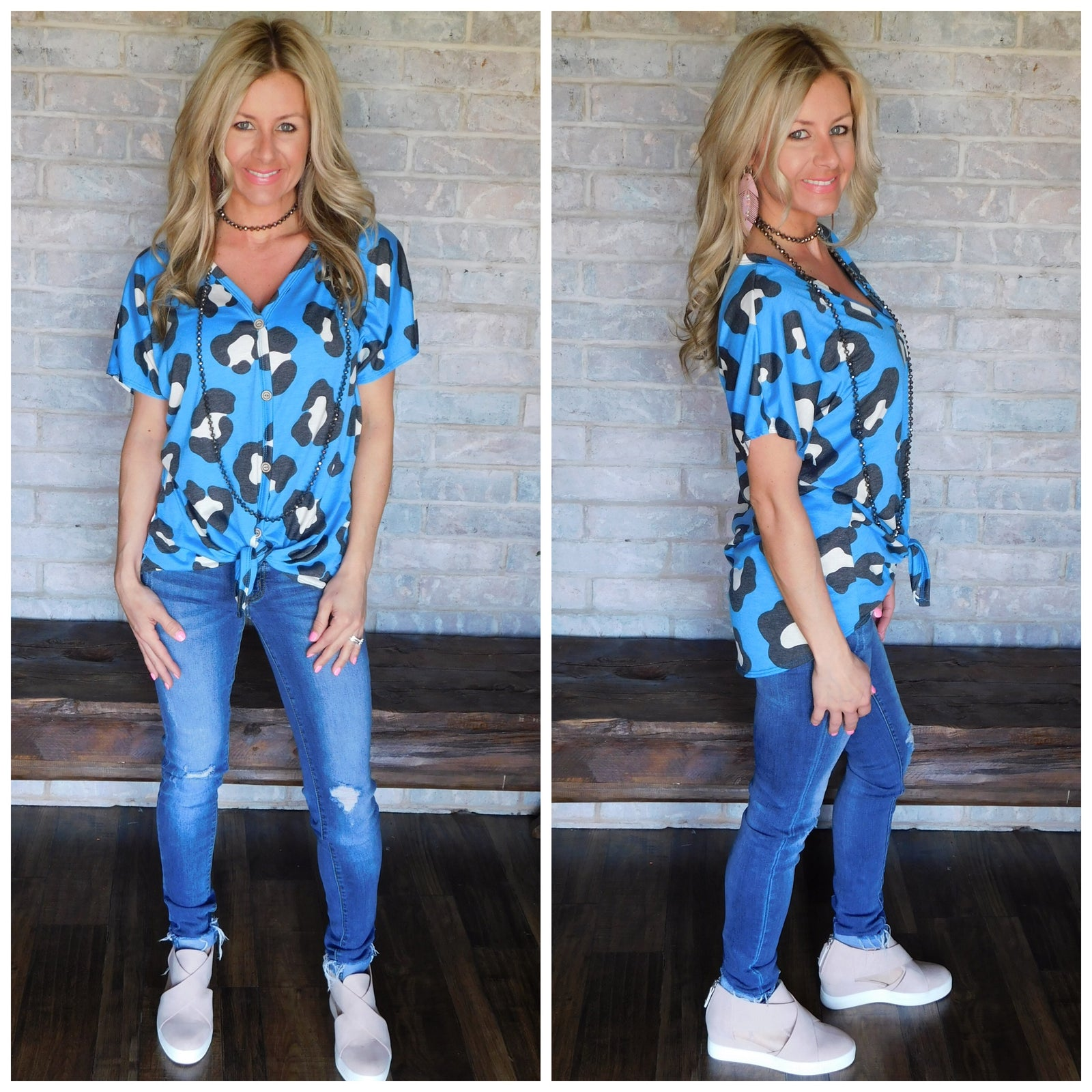 Blue Leopard Tie Short Sleeve Top