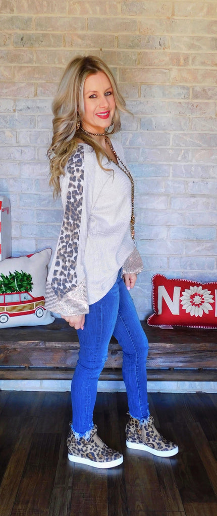 Oatmeal Melody waffle knit leopard & sequin blouse