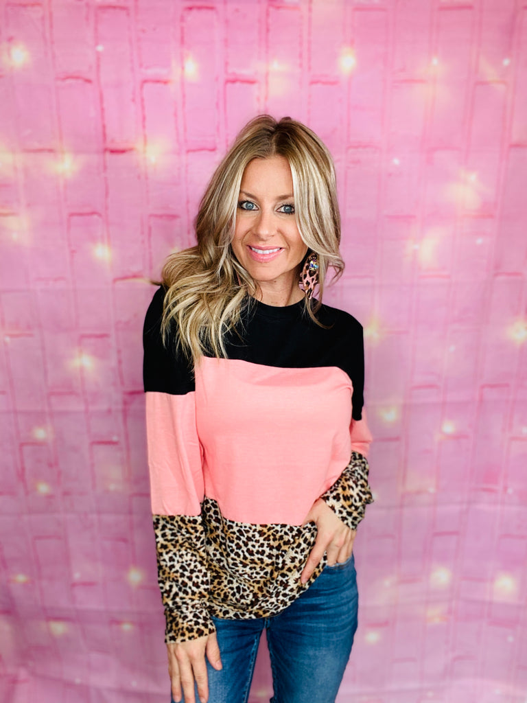 Dusty Pink Leopard Colorblock Sleeve Blouse