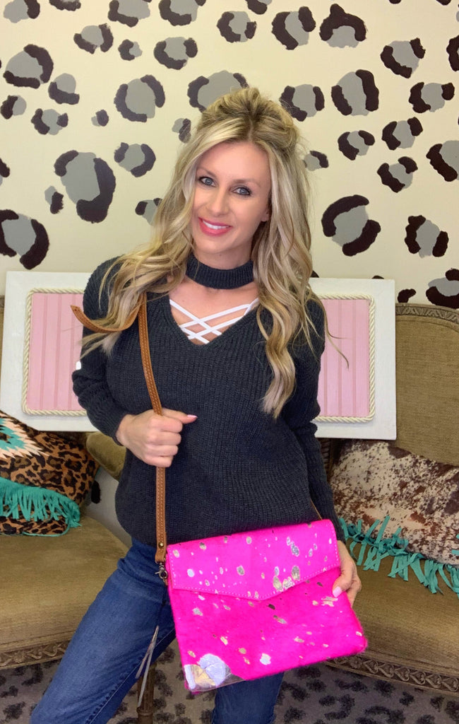 The Gwen Pink Acid Wash Crossbody Purse