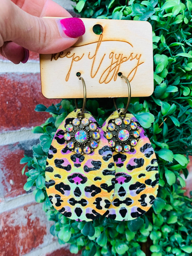 Pastel Cheetah Multi AB Earrings