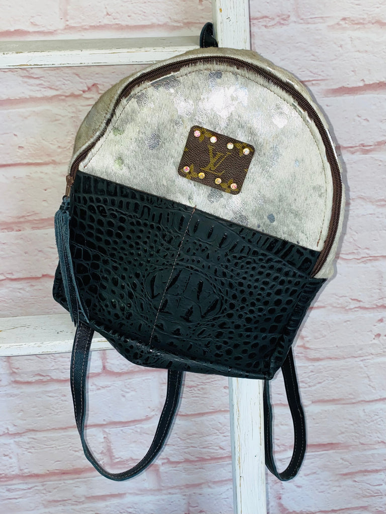 Black Croc & Silver Acid Wash Hair on Hide Mini Upcycled Backpack Purse