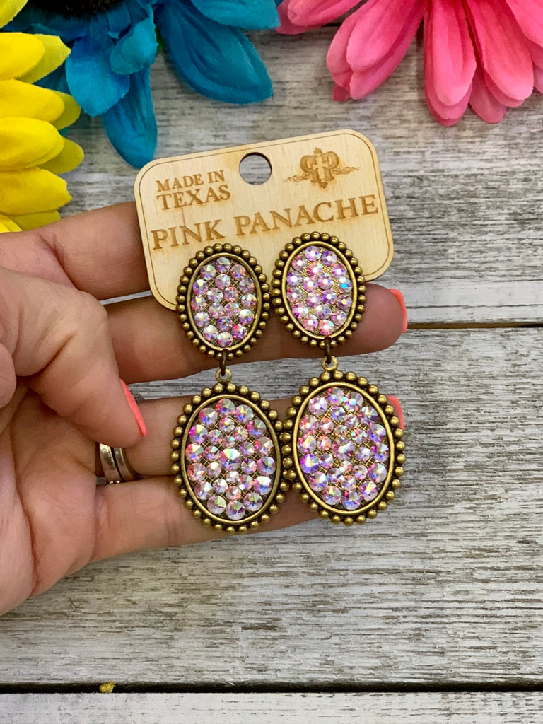 Gold & AB Double Oval Earrings by Pink Panache