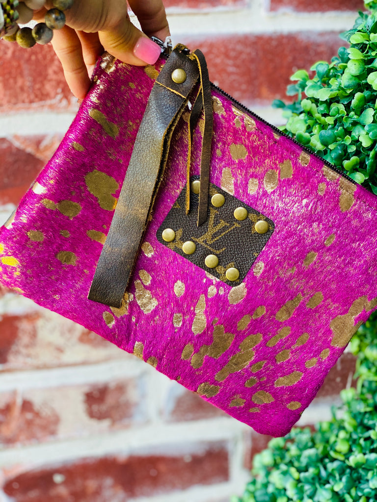 Pink & Rose Gold Acid Wash Upcycled Clutch Purse