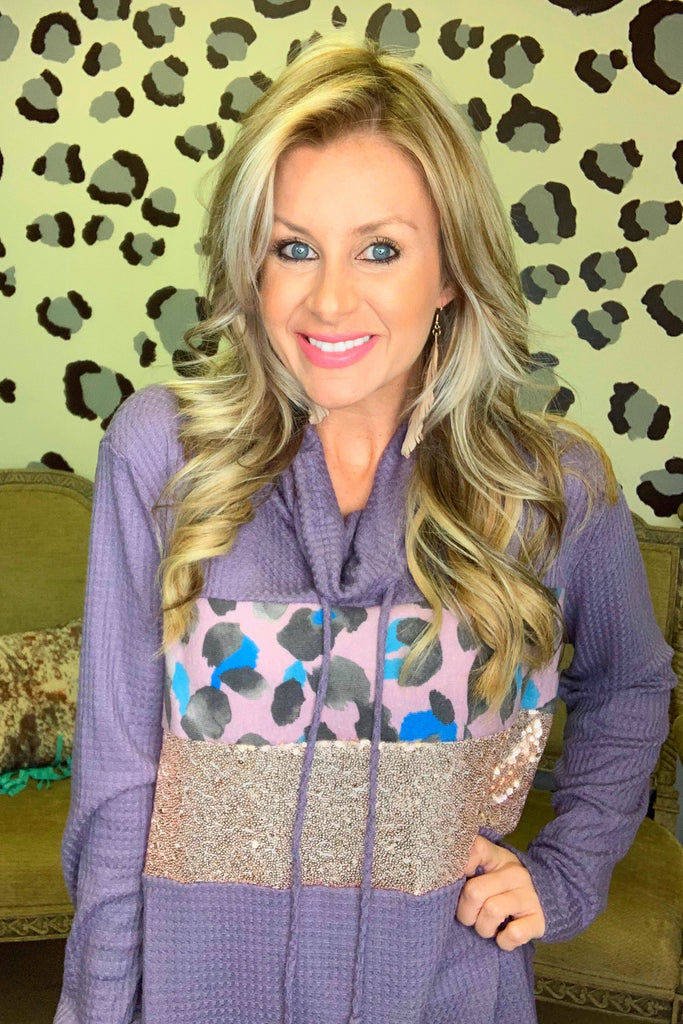 Cozy in love Lavender leopard sequin blouse