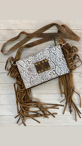 Black & white python leather LV embellished bifold crossbody