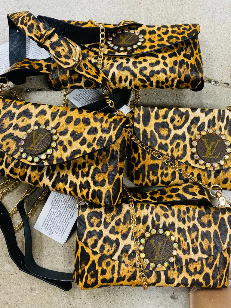 Jungle Leopard Vegan Leather Upcycled Embellished Belt Bag/ Purse