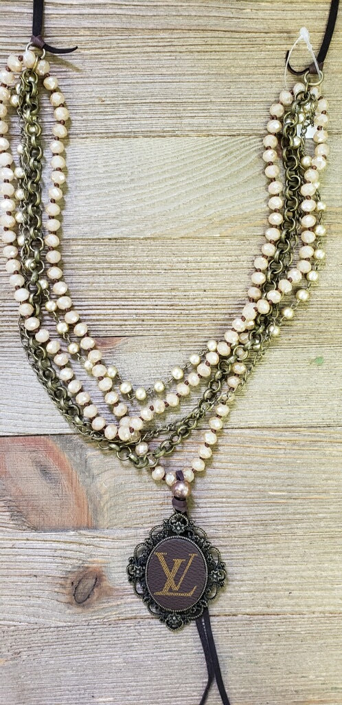 Taupe Bronze LV Beaded Necklace