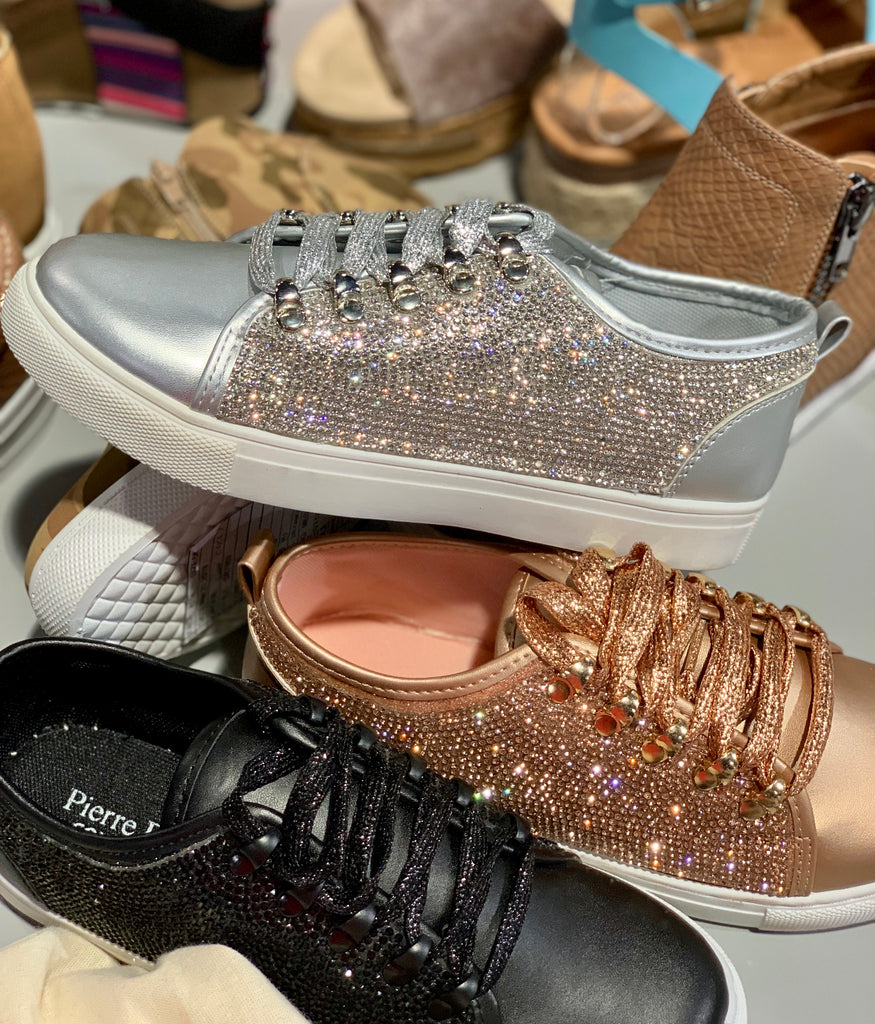 Silver ~ Get up and go rhinestone tennis shoes