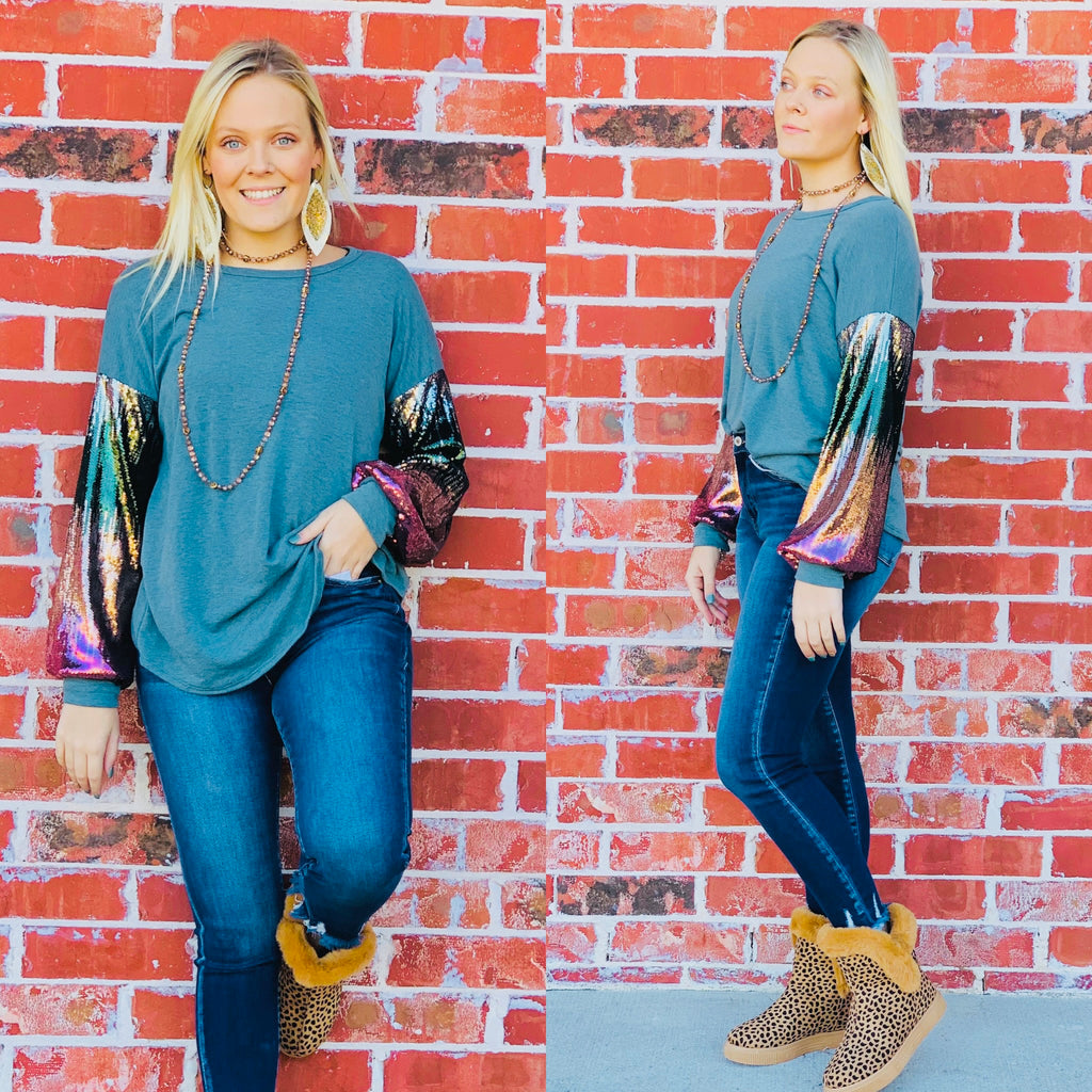 Teal Simply Sweet Ombre Sequin Sweater