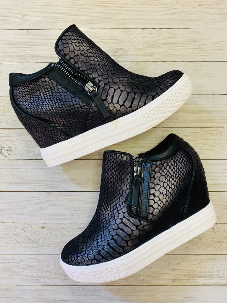 Black Python Timmibelle Tennis Shoe Wedge by Not Rated