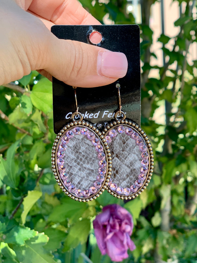 Tan python pink crystal oval earrings