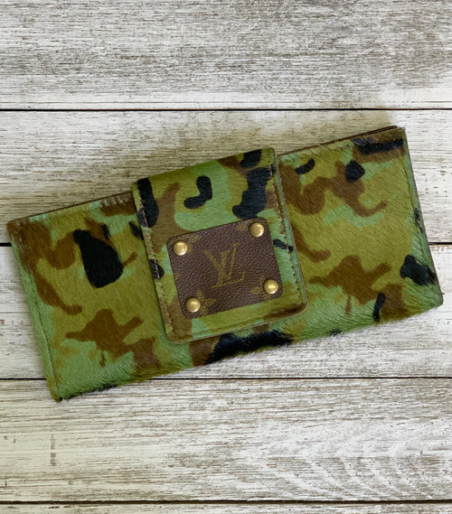 Camo hair on hide wallet clutch