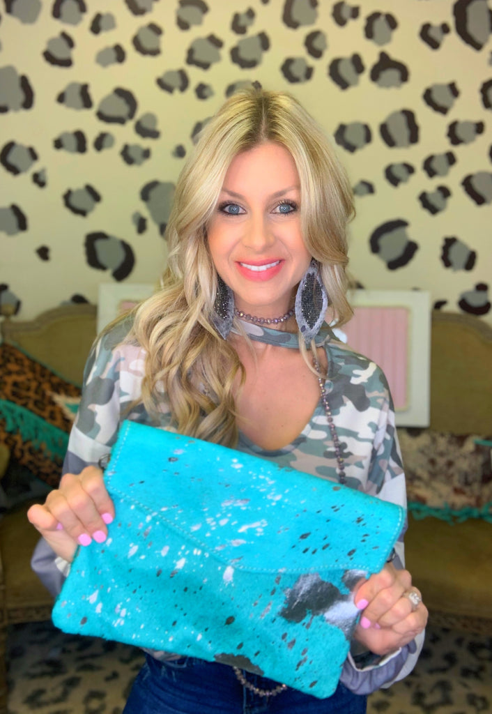 The Gwen turquoise Acid Wash Crossbody Purse