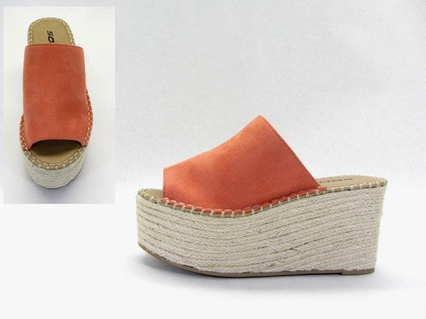 Dusty Coral Platform Wedge