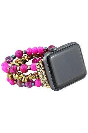 Fuchsia Beaded Watch Band
