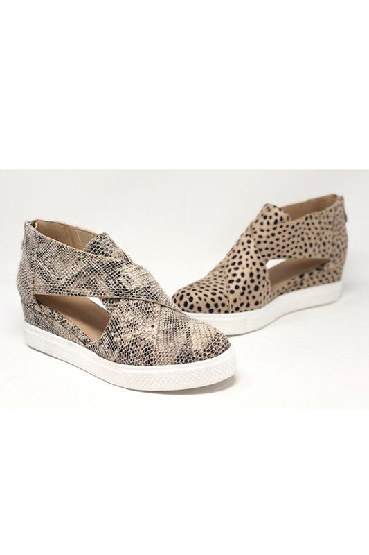 Beige Python Melody Wedge Tennis Shoe