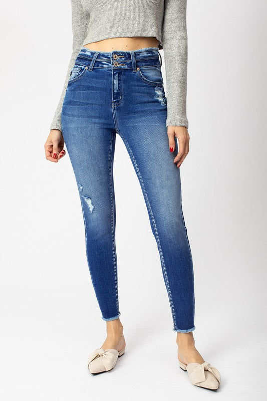 Double Button Distressed KanCan Jeans