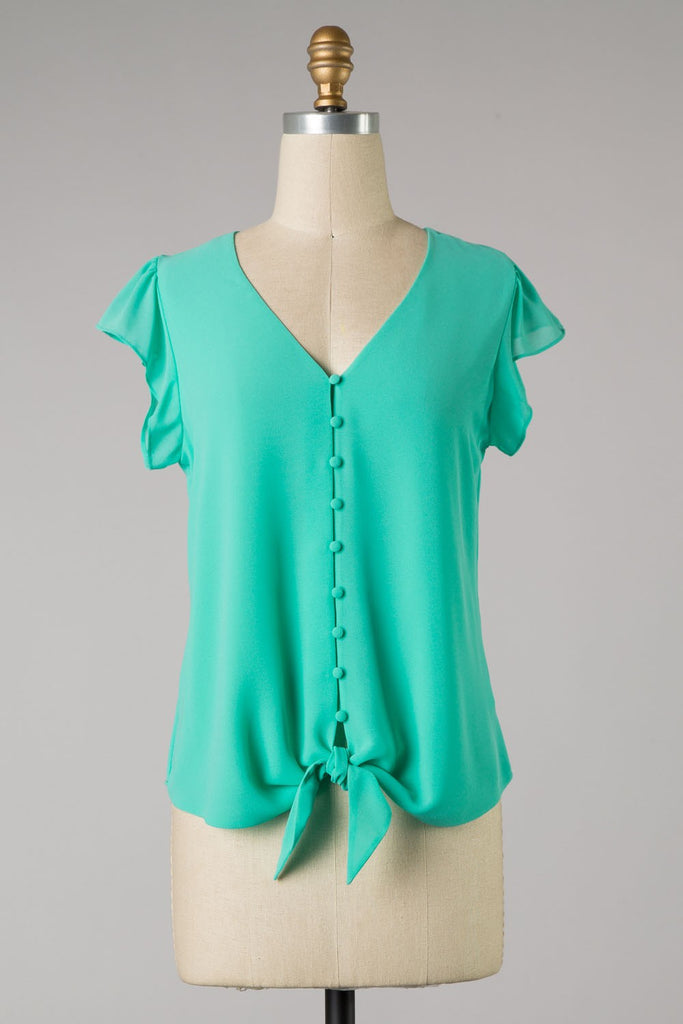 Ice Green Short Flare Sleeve Top