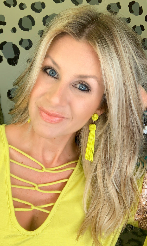 Neon Yellow Tassel Beaded Post Earrings