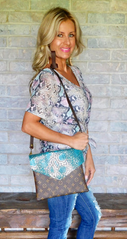 Simply Chic Deep turquoise python LV crossbody