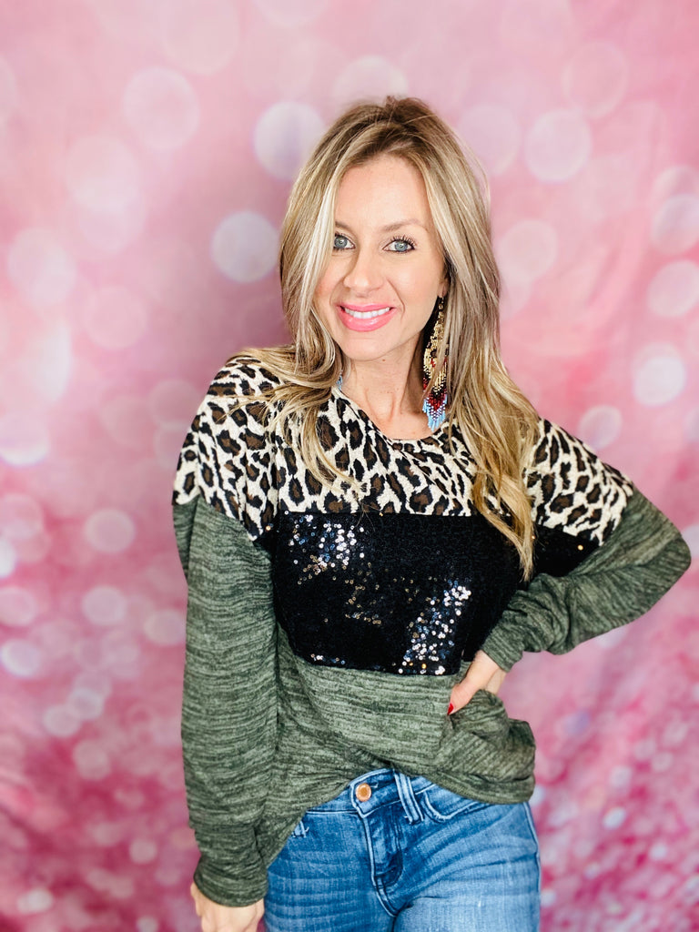 Olive & Black Sequin Leopard Long Sleeve Top