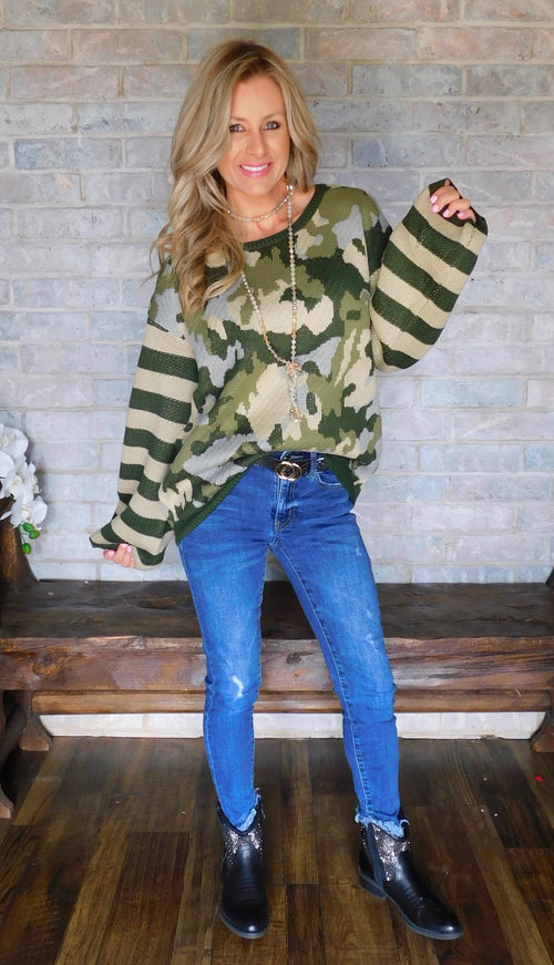 Army combo striped Cozy Sweater