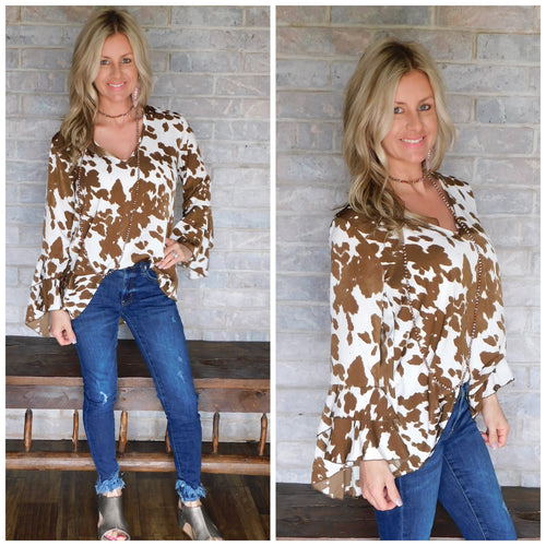 Ivory & brown cow print flare sleeve blouse