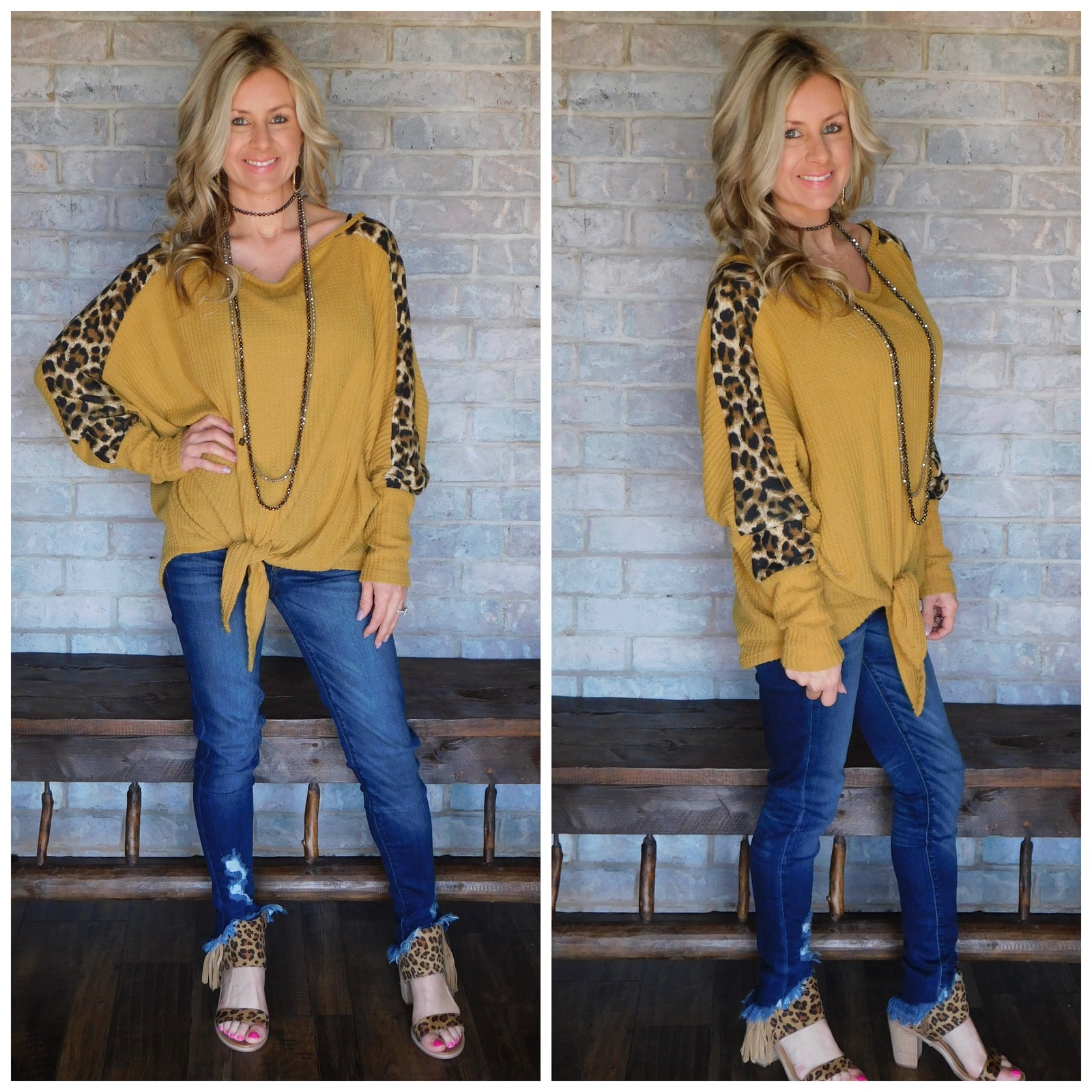 Fall into Fall leopard sleeve waffle fleece blouse