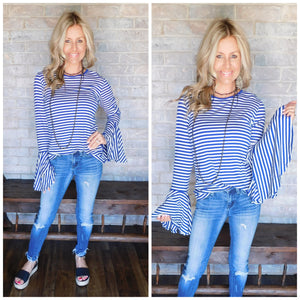 Blue & white bell sleeve blouse