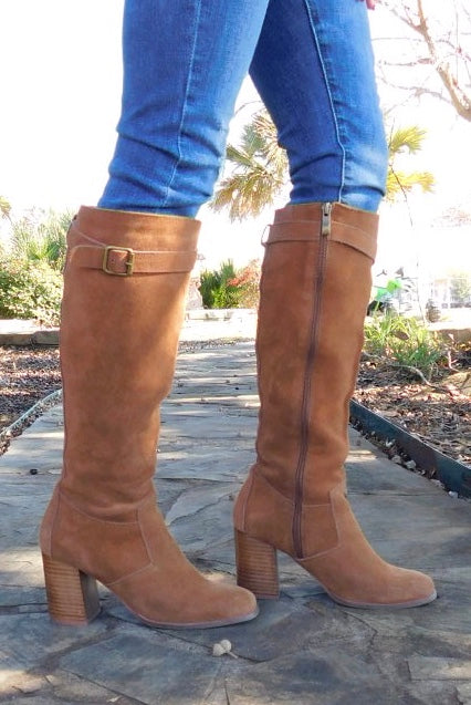 Kylie Camel Suede leather Knee high boots