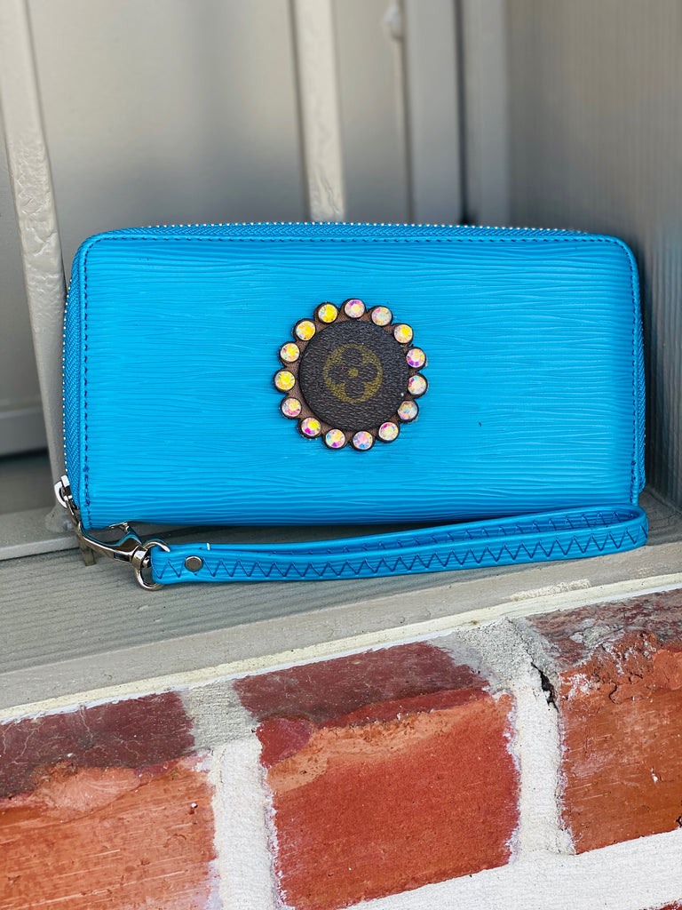 Down South Blue Upcycled Embellished Wallet/Clutch