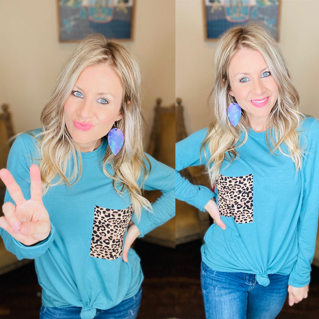 Comfy Casual Teal Leopard Pocket Long sleeve